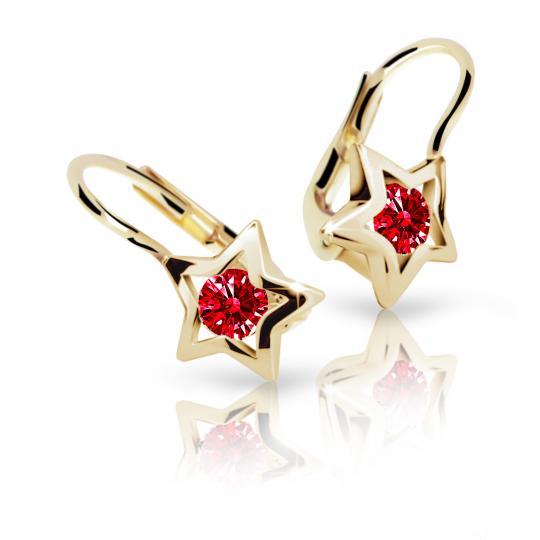 Children's earrings Danfil Stars C1942 Yellow gold, Ruby Dark, Leverbacks