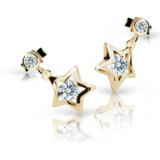 Children's earrings Danfil Stars C1942 Yellow gold, White, Butterfly backs
