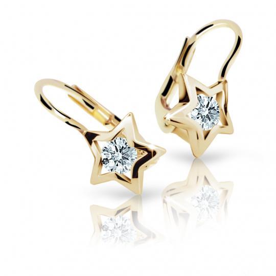 Children's earrings Danfil Stars C1942 Yellow gold, White, Leverbacks