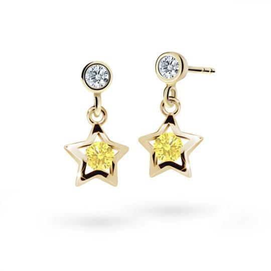 Children's earrings Danfil Stars C1942 Yellow gold, Yellow, Butterfly backs