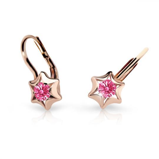 Children's earrings Danfil Stars C2159 Rose gold, Tcf Red, Leverbacks