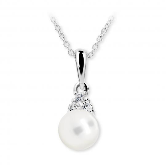Childrens Pendant with pearl Danfil C2235 White gold
