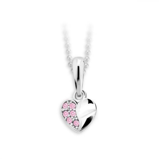 Colgante de corazón infantil Danfil C2160 de oro blanco con pedrería de color rosa