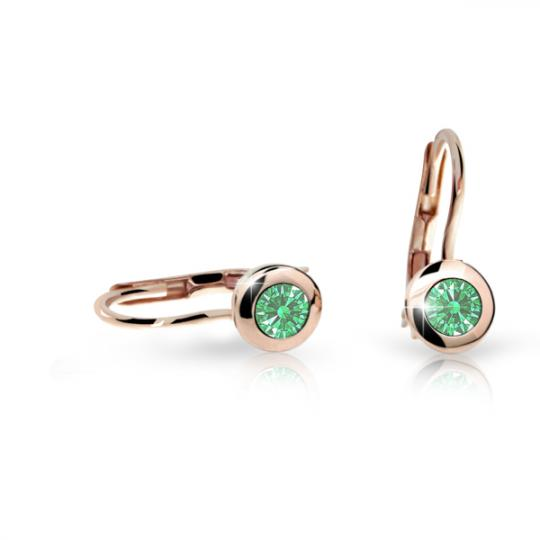 Detské náušnice Danfil C1537 zo ružového zlata, Emerald Green, zapínanie klapka