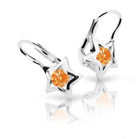 Detské náušnice Danfil hviezdičky C1942 zo bieleho zlata, Orange, zapínanie klapka