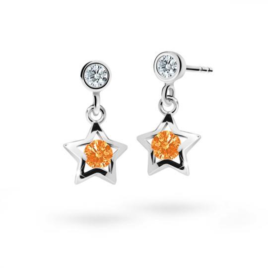 Detské náušnice Danfil hviezdičky C1942 zo bieleho zlata, Orange, zapínanie puzeta