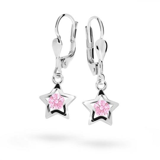Detské náušnice Danfil hviezdičky C1942 zo bieleho zlata, Pink, zapínanie klapka