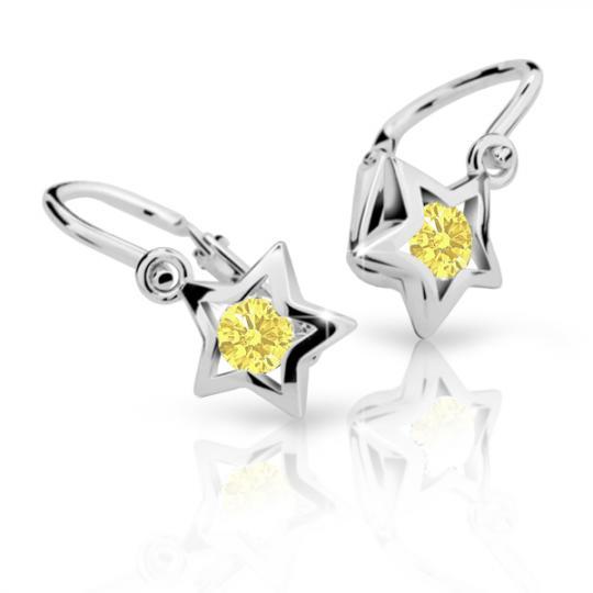 Detské náušnice Danfil hviezdičky C1942 zo bieleho zlata, Yellow, zapínanie brizura