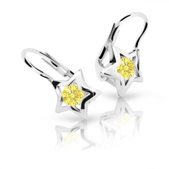 Detské náušnice Danfil hviezdičky C1942 zo bieleho zlata, Yellow, zapínanie klapka
