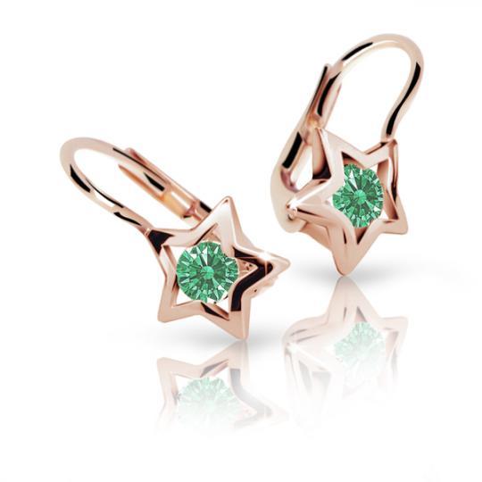 Detské náušnice Danfil hviezdičky C1942 zo ružového zlata, Emerald Green, zapínanie klapka