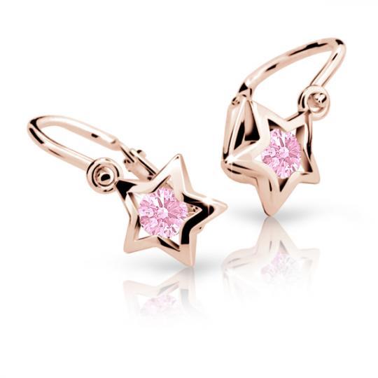 Detské náušnice Danfil hviezdičky C1942 zo ružového zlata, Pink, zapínanie brizura