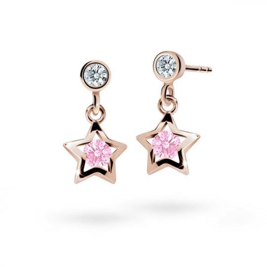 Detské náušnice Danfil hviezdičky C1942 zo ružového zlata, Pink, zapínanie puzeta