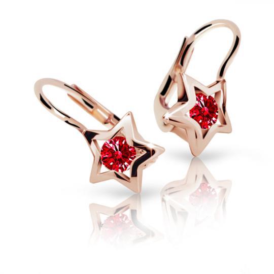 Detské náušnice Danfil hviezdičky C1942 zo ružového zlata, Ruby Dark, zapínanie klapka