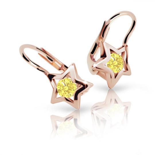 Detské náušnice Danfil hviezdičky C1942 zo ružového zlata, Yellow, zapínanie klapka