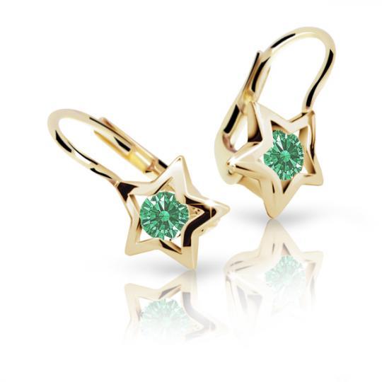 Detské náušnice Danfil hviezdičky C1942 zo žltého zlata, Emerald Green, zapínanie klapka