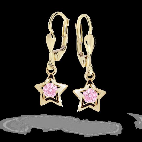 Detské náušnice Danfil hviezdičky C1942 zo žltého zlata, Pink, zapínanie klapka