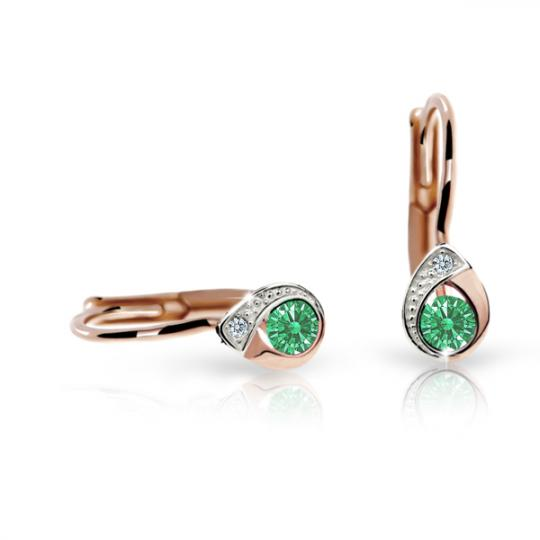 Detské náušnice Danfil slzičky C1898 zo ružového zlata, Emerald Green, zapínanie klapka