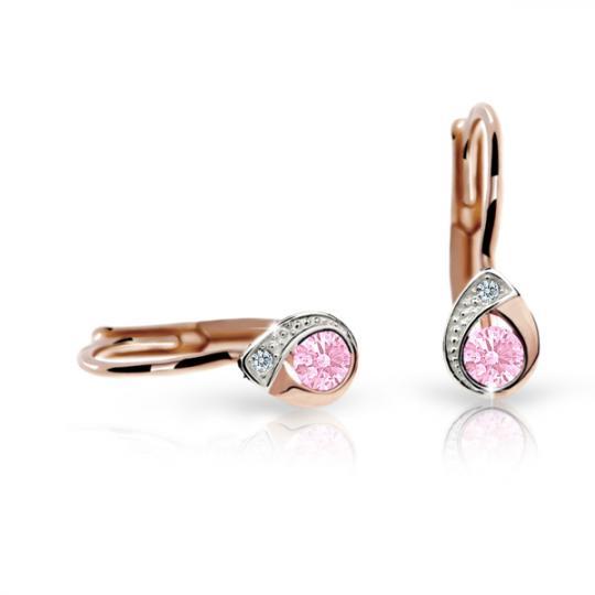 Detské náušnice Danfil slzičky C1898 zo ružového zlata, Pink, zapínanie klapka