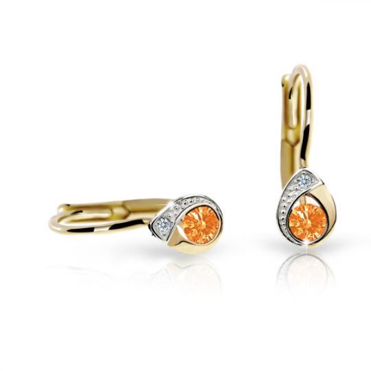 Detské náušnice Danfil slzičky C1898 zo žltého zlata, Orange, zapínanie klapka