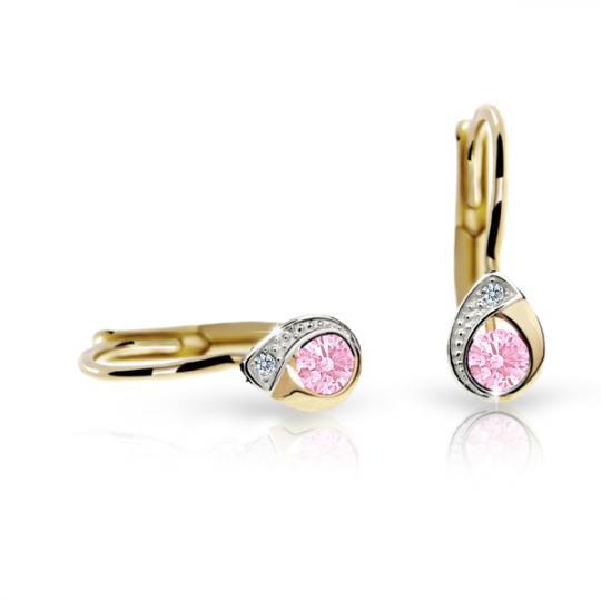 Detské náušnice Danfil slzičky C1898 zo žltého zlata, Pink, zapínanie klapka