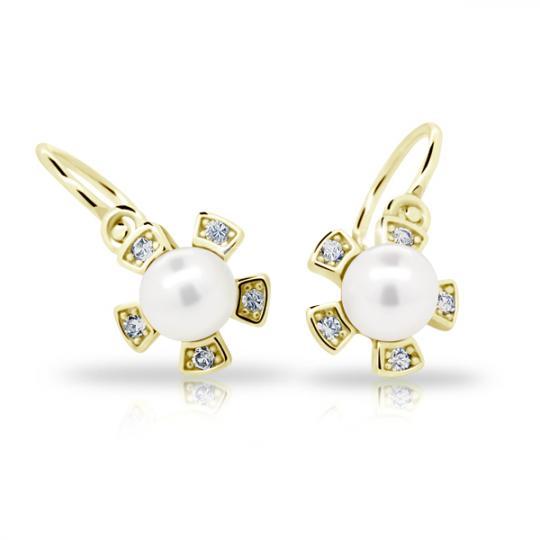 Dětské perlové náušnice Danfil C2395 ze žlutého zlata, zapínání brizura