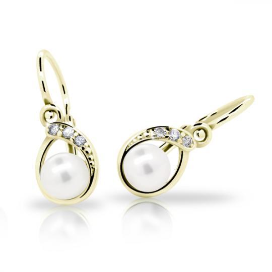 Dětské perlové náušnice Danfil C2480 ze žlutého zlata, zapínání brizura