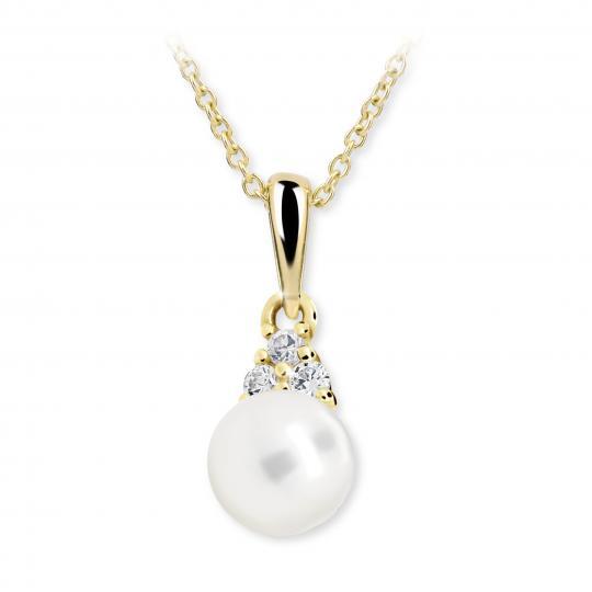 Dětský perlový přívěsek Danfil C2235 ze žlutého zlata, přírodní sladkovodní perla