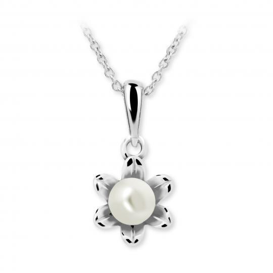 Dětský perlový přívěsek Danfil C2239 z bílého zlata, přírodní sladkovodní perla