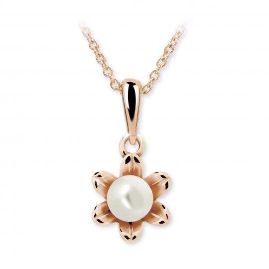 Dětský perlový přívěsek Danfil C2239 z růžového zlata, přírodní sladkovodní perla