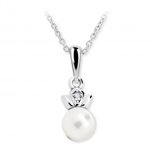 Dětský perlový přívěsek Danfil C2267 z bílého zlata, přírodní sladkovodní perla