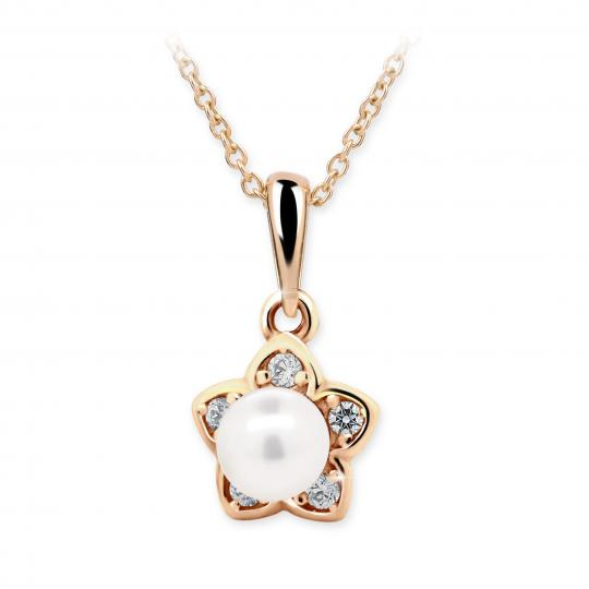 Dětský perlový přívěsek Danfil C2387 z růžového zlata, přírodní sladkovodní perla