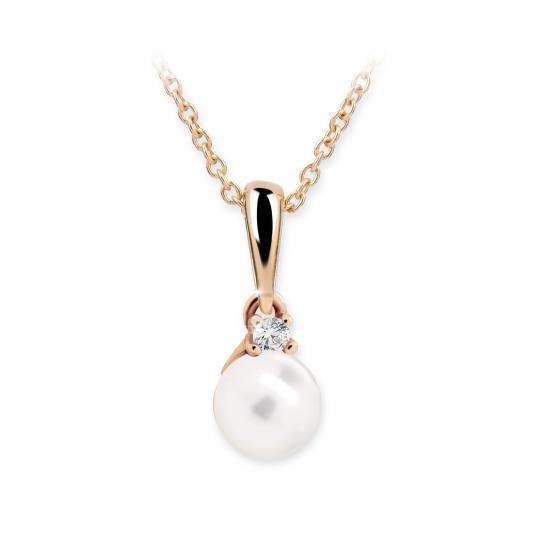 Dětský perlový přívěsek Danfil C2392 z růžového zlata, přírodní sladkovodní perla