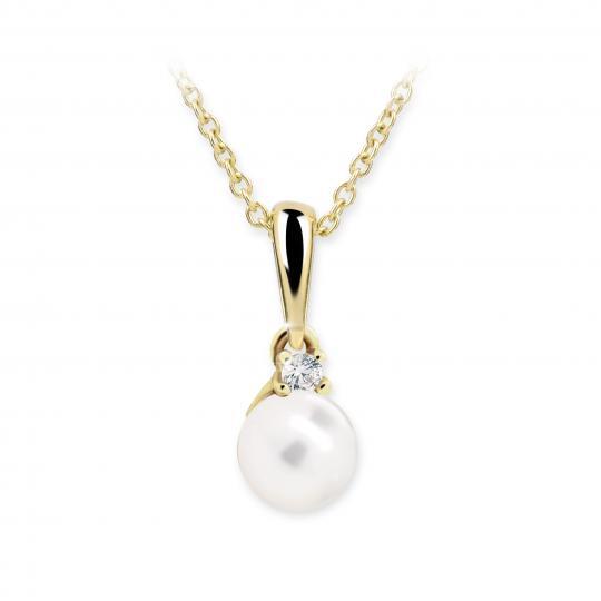Dětský perlový přívěsek Danfil C2392 ze žlutého zlata, přírodní sladkovodní perla