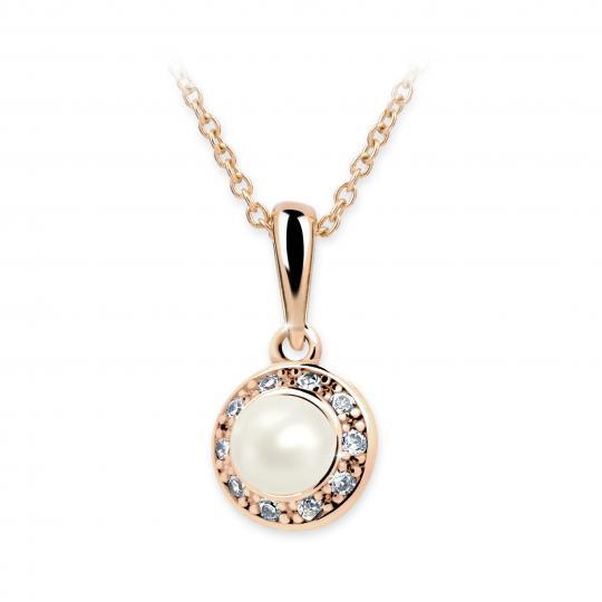 Dětský perlový přívěsek Danfil C2393 z růžového zlata, přírodní sladkovodní perla
