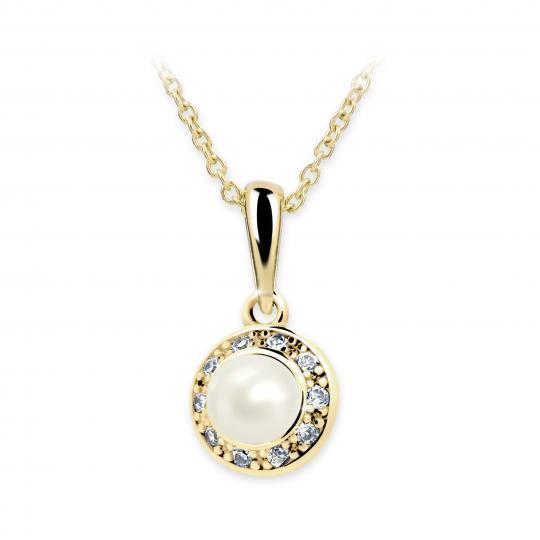 Dětský perlový přívěsek Danfil C2393 ze žlutého zlata, přírodní sladkovodní perla