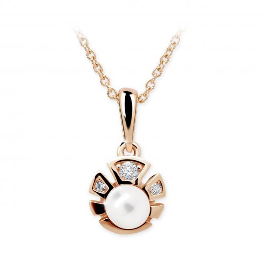Dětský perlový přívěsek Danfil C2410 z růžového zlata, přírodní sladkovodní perla