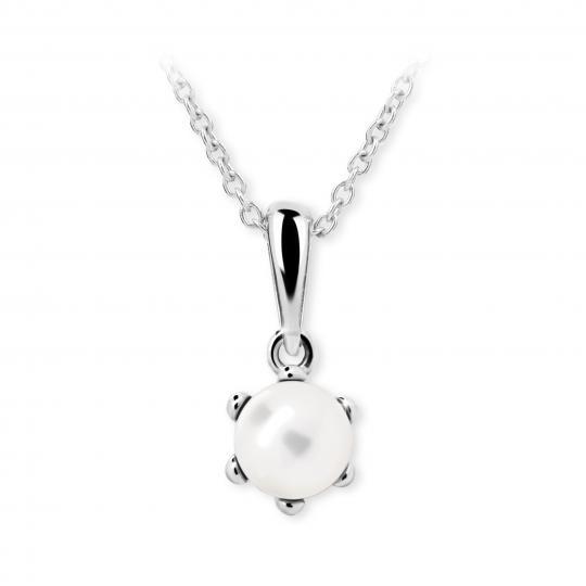 Dětský perlový přívěsek Danfil C2482 z bílého zlata, přírodní sladkovodní perla
