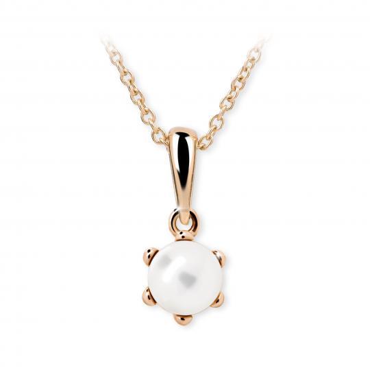 Dětský perlový přívěsek Danfil C2482 z růžového zlata, přírodní sladkovodní perla