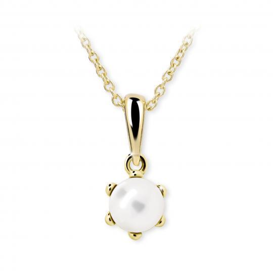 Dětský perlový přívěsek Danfil C2482 ze žlutého zlata, přírodní sladkovodní perla
