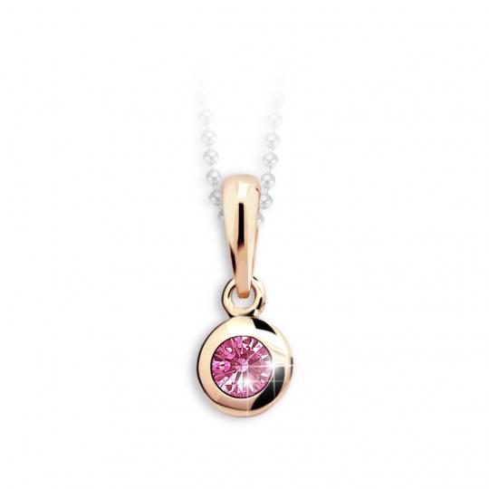 Dětský přívěsek Danfil C1537 z růžového zlata s kamínkem Tcf Red