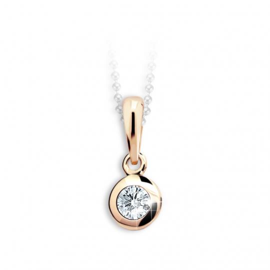 Dětský přívěsek Danfil C1537 z růžového zlata s kamínkem White