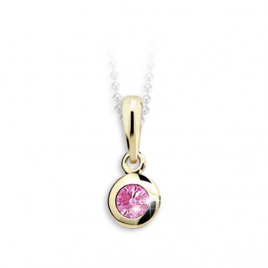 Dětský přívěsek Danfil C1537 ze žlutého zlata s kamínkem Pink