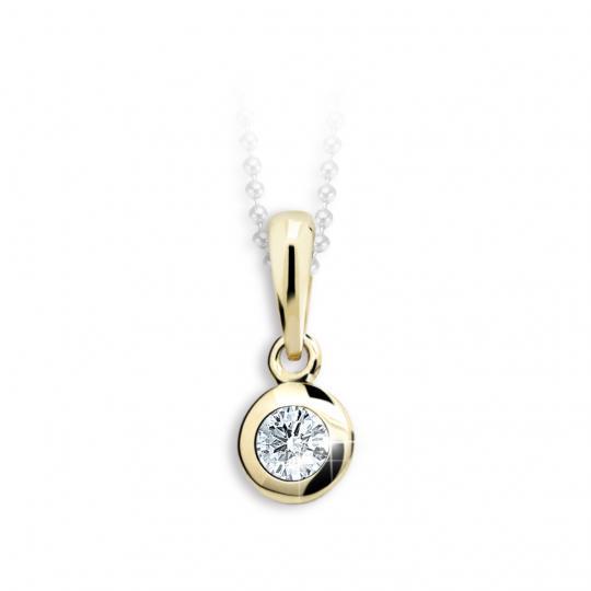 Dětský přívěsek Danfil C1537 ze žlutého zlata s kamínkem White