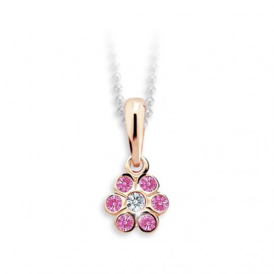 Dětský přívěsek Danfil kytička C1737 z růžového zlata s kamínky Pink
