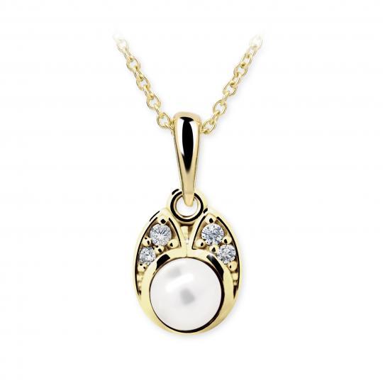Dětský přívěsek s perlou Danfil C2254 ze žlutého zlata, přírodní sladkovodní perla