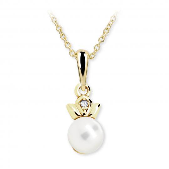 Dětský přívěsek s perlou Danfil C2267 ze žlutého zlata, přírodní sladkovodní perla