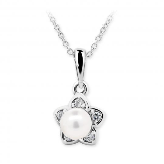 Dětský přívěsek s perlou Danfil C2387 z bílého zlata, přírodní sladkovodní perla