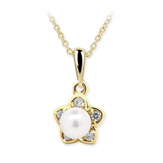 Dětský přívěsek s perlou Danfil C2387 ze žlutého zlata, přírodní sladkovodní perla