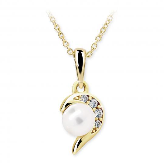 Dětský přívěsek s perlou Danfil C2389 ze žlutého zlata, přírodní sladkovodní perla