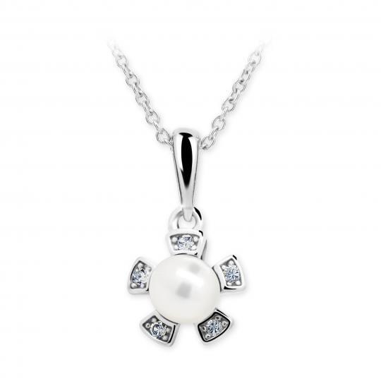 Dětský přívěsek s perlou Danfil C2395 z bílého zlata, přírodní sladkovodní perla